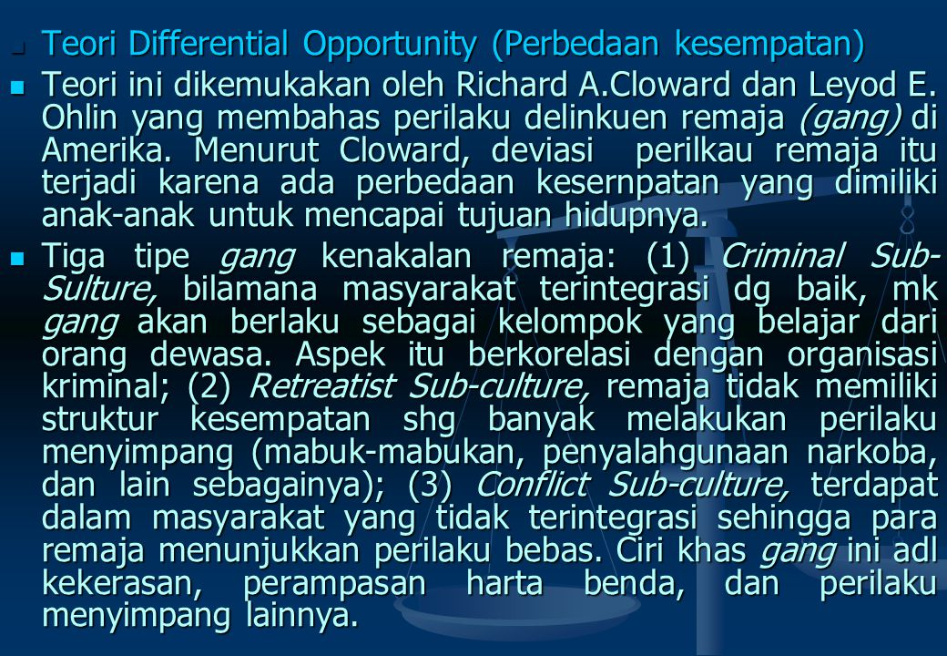 Teori Differential Opportunity (Perbedaan kesempatan)