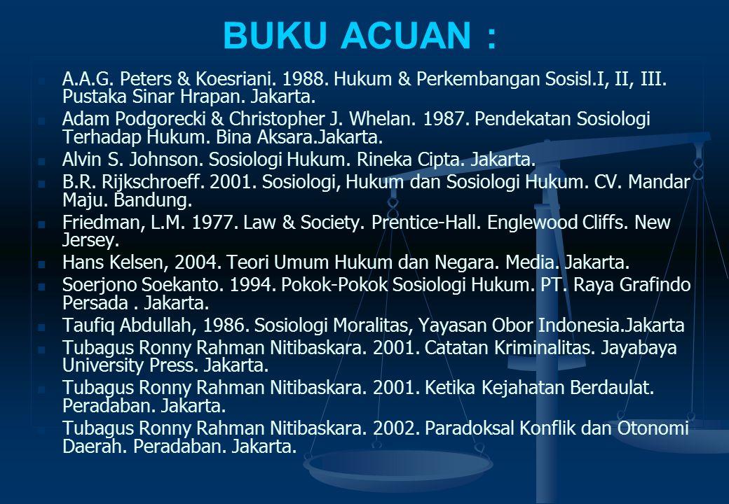 BUKU ACUAN : A.A.G. Peters & Koesriani. 1988. Hukum & Perkembangan Sosisl.I, II, III. Pustaka Sinar Hrapan. Jakarta.