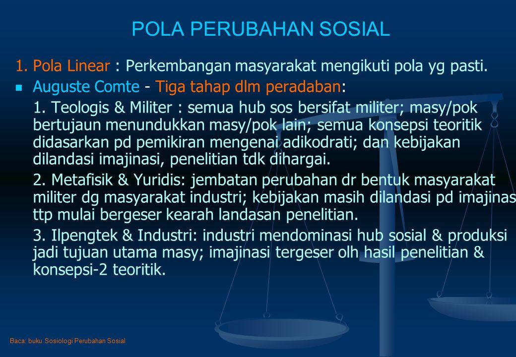 POLA PERUBAHAN SOSIAL 1. Pola Linear : Perkembangan masyarakat mengikuti pola yg pasti. Auguste Comte - Tiga tahap dlm peradaban: