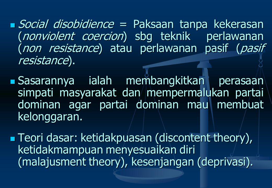Social disobidience = Paksaan tanpa kekerasan (nonviolent coercion) sbg teknik perlawanan (non resistance) atau perlawanan pasif (pasif resistance).