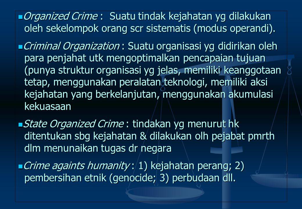 Organized Crime : Suatu tindak kejahatan yg dilakukan