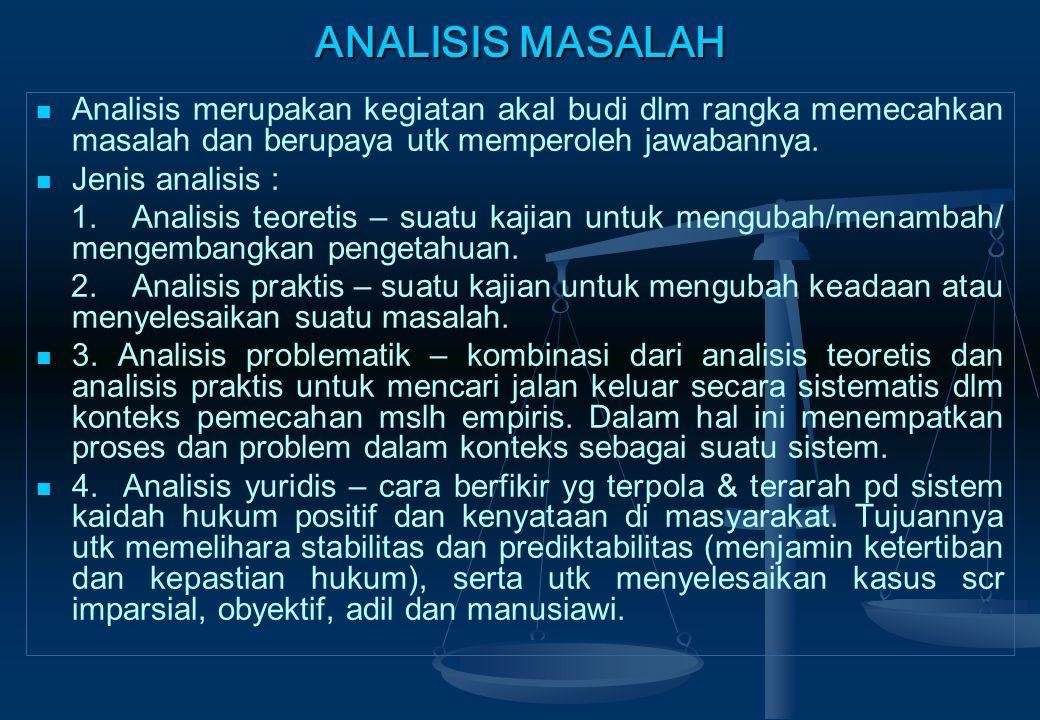 ANALISIS MASALAH Analisis merupakan kegiatan akal budi dlm rangka memecahkan masalah dan berupaya utk memperoleh jawabannya.