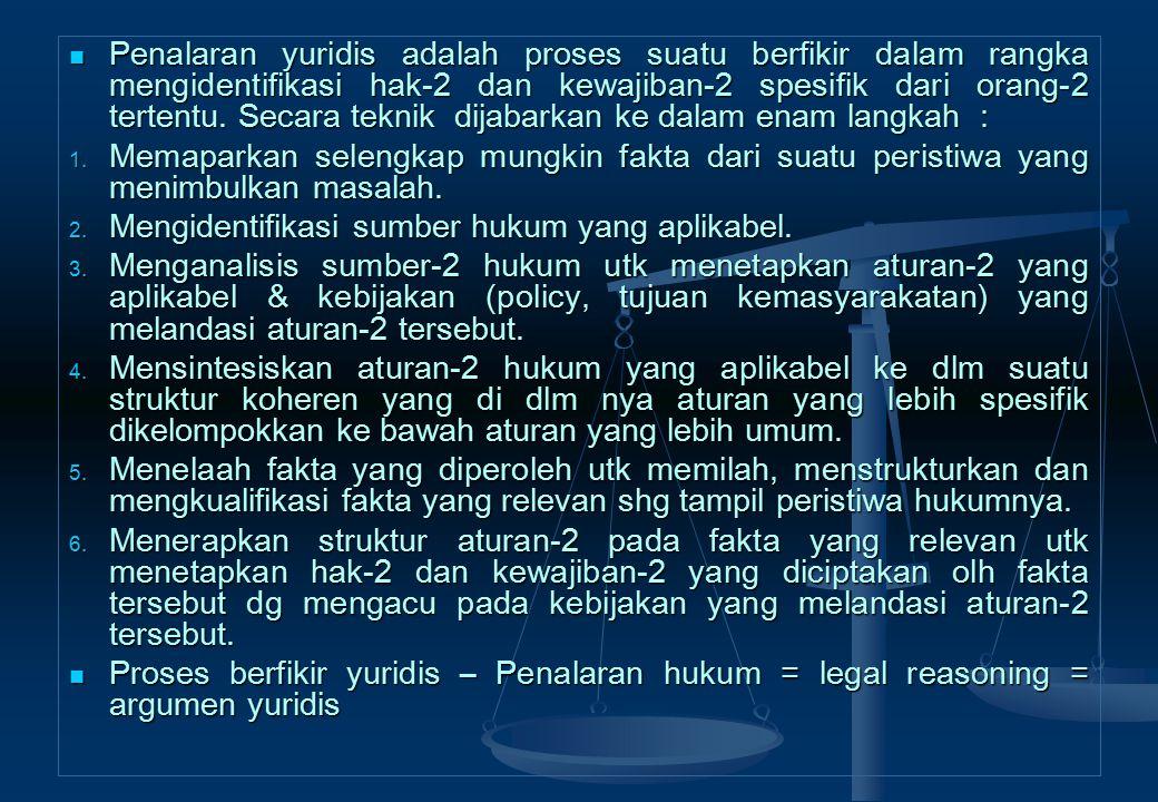Penalaran yuridis adalah proses suatu berfikir dalam rangka mengidentifikasi hak-2 dan kewajiban-2 spesifik dari orang-2 tertentu. Secara teknik dijabarkan ke dalam enam langkah :