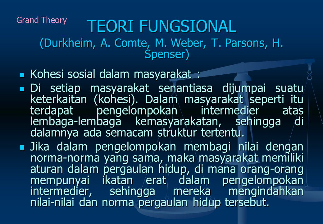 (Durkheim, A. Comte, M. Weber, T. Parsons, H. Spenser)