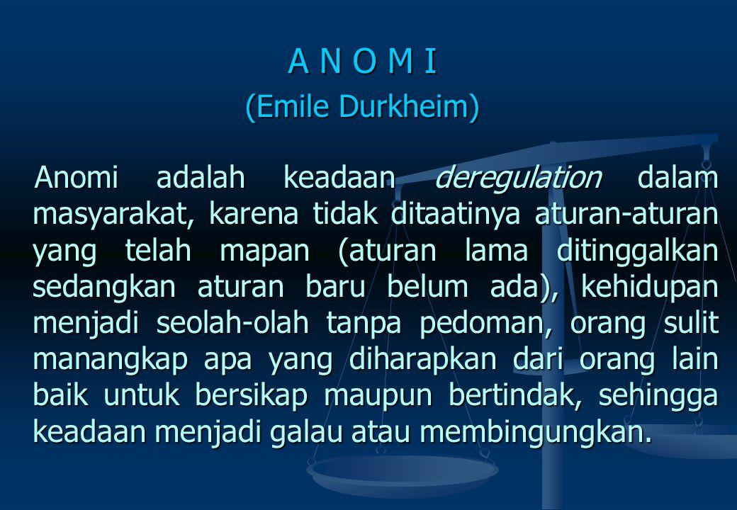 A N O M I (Emile Durkheim)