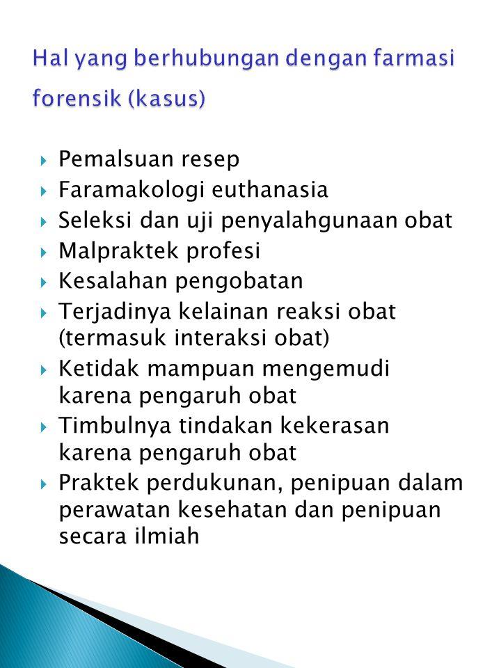 Hal yang berhubungan dengan farmasi forensik (kasus)
