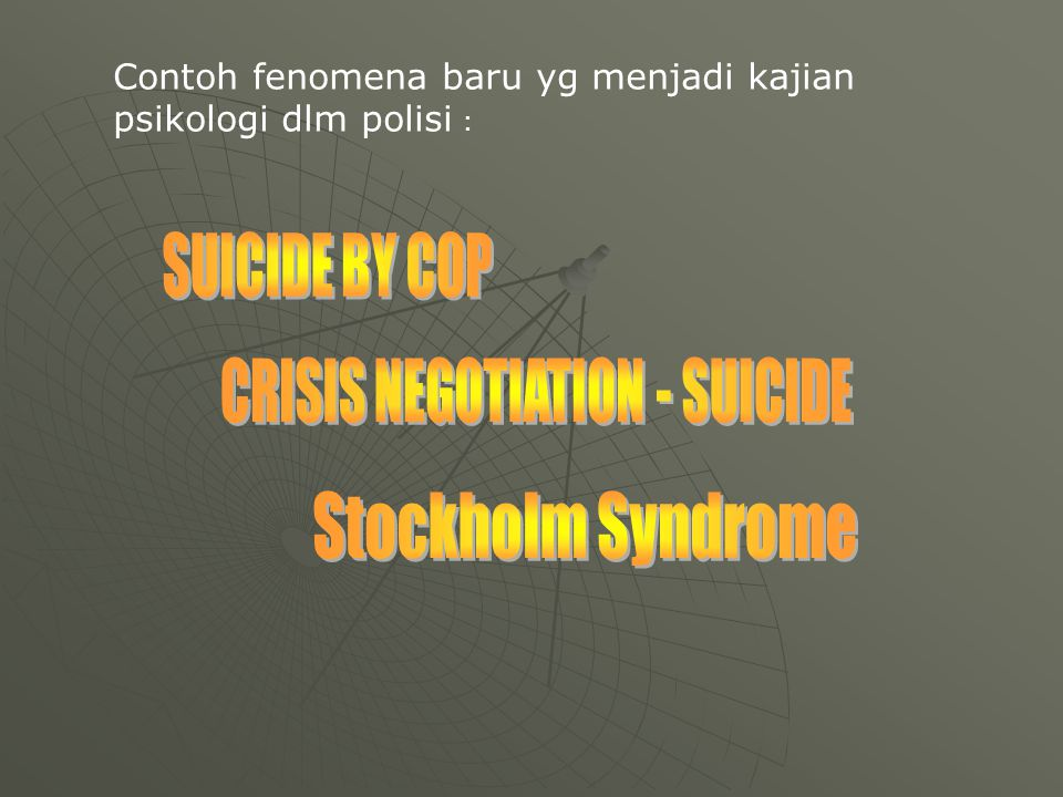 CRISIS NEGOTIATION - SUICIDE
