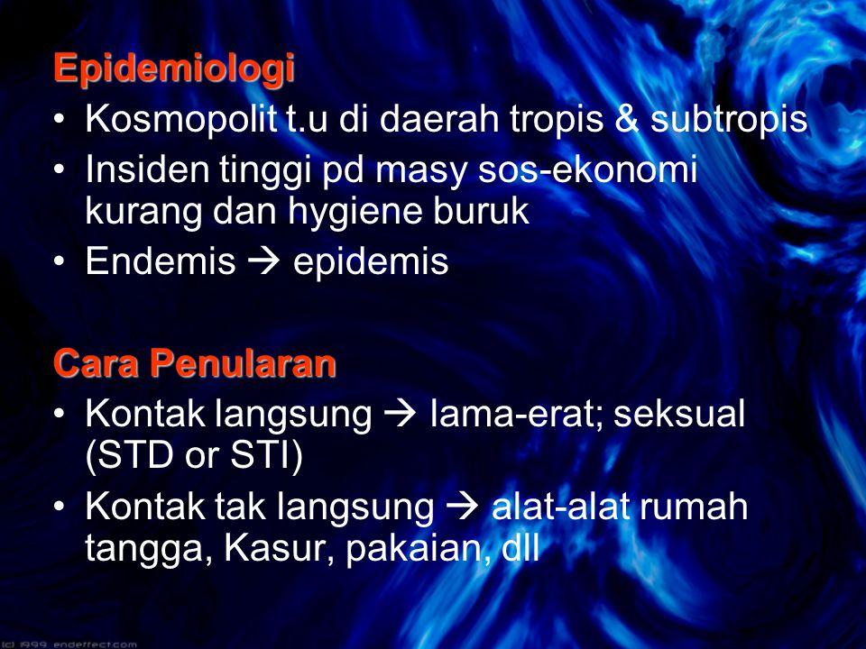 Epidemiologi Kosmopolit t.u di daerah tropis & subtropis. Insiden tinggi pd masy sos-ekonomi kurang dan hygiene buruk.