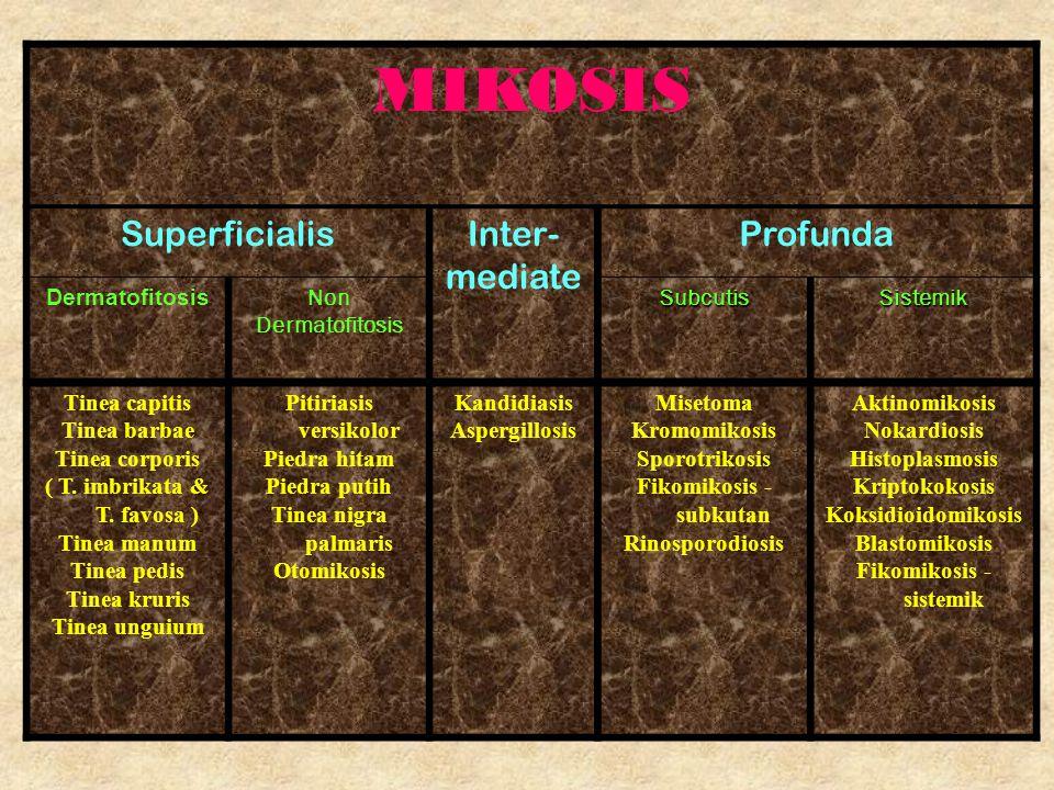 MIKOSIS Superficialis Inter- mediate Profunda Dermatofitosis Non
