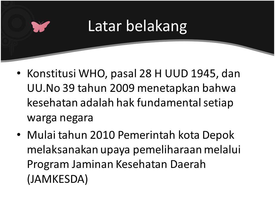 Latar belakang Konstitusi WHO, pasal 28 H UUD 1945, dan UU.No 39 tahun 2009 menetapkan bahwa kesehatan adalah hak fundamental setiap warga negara.