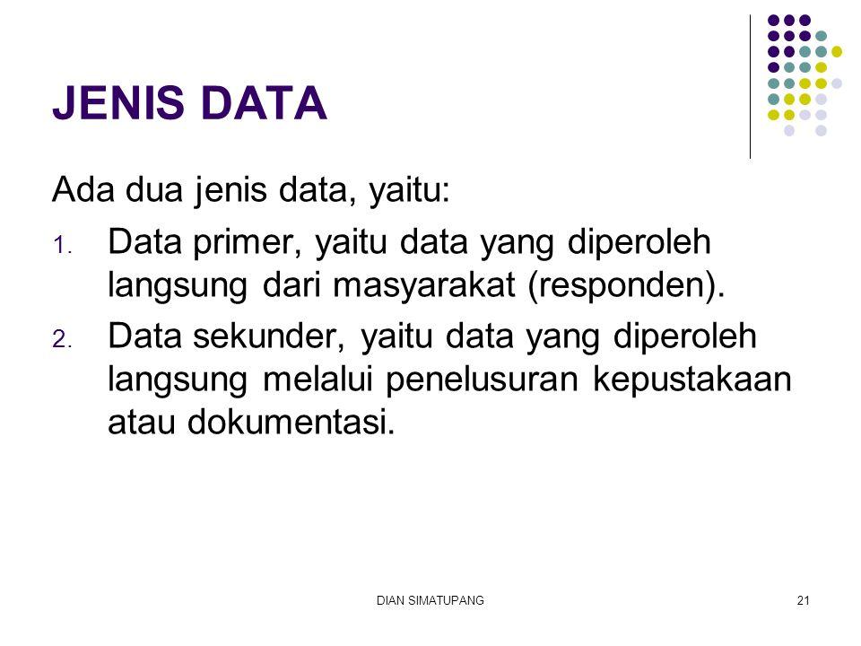 JENIS DATA Ada dua jenis data, yaitu: