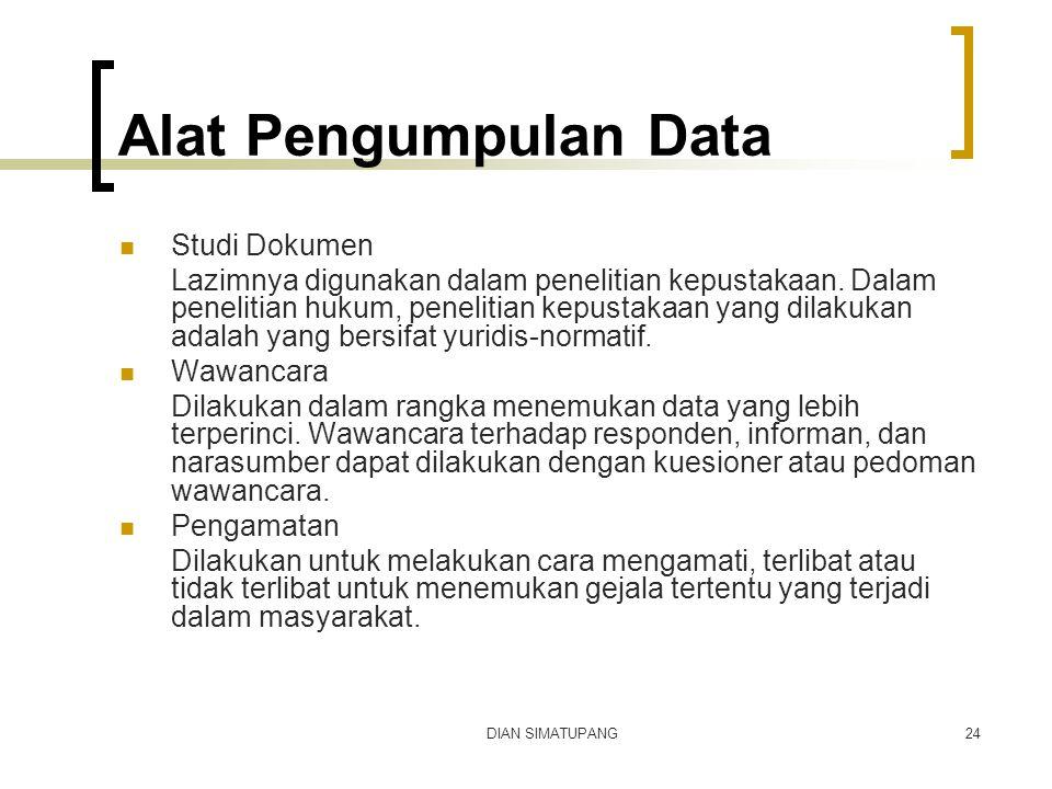 Alat Pengumpulan Data Studi Dokumen