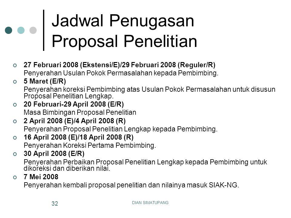 Jadwal Penugasan Proposal Penelitian