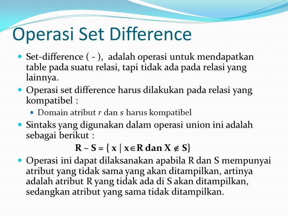 Operasi Set Difference