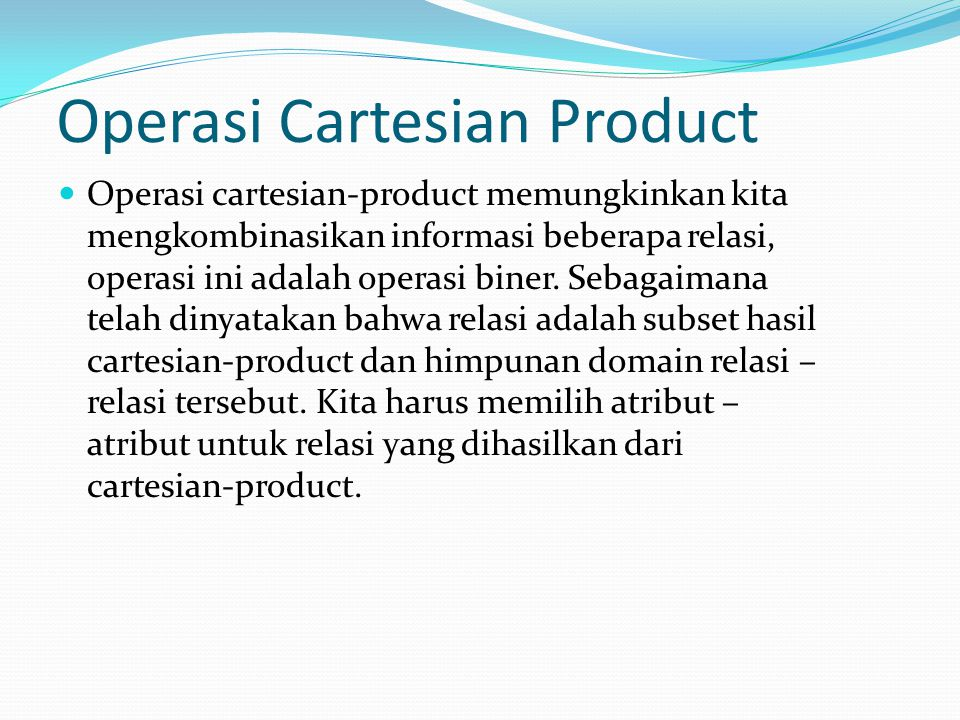 Operasi Cartesian Product
