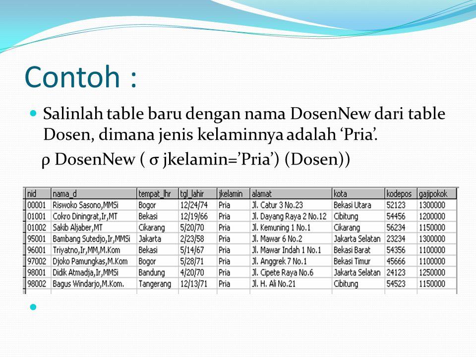 Contoh : Salinlah table baru dengan nama DosenNew dari table Dosen, dimana jenis kelaminnya adalah 'Pria'.