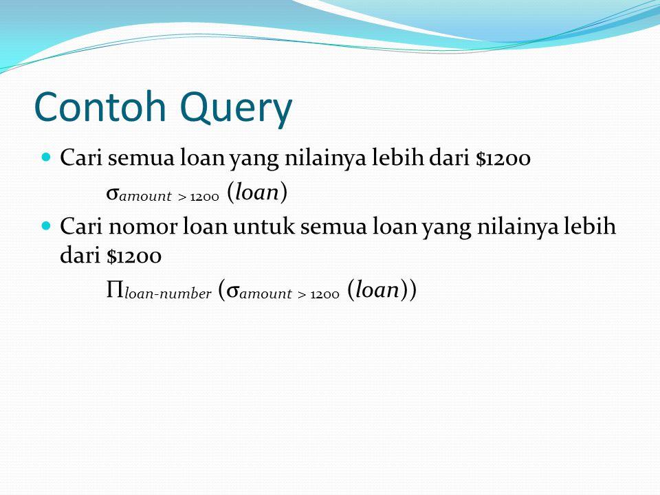 Contoh Query Cari semua loan yang nilainya lebih dari $1200