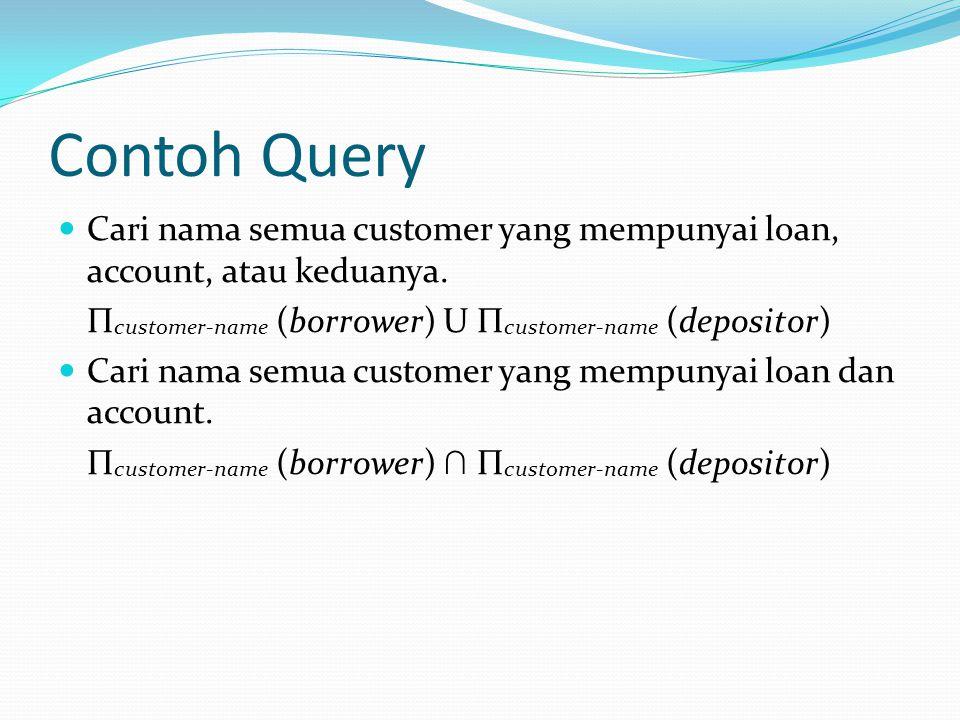 Contoh Query Cari nama semua customer yang mempunyai loan, account, atau keduanya. Πcustomer-name (borrower) U Πcustomer-name (depositor)
