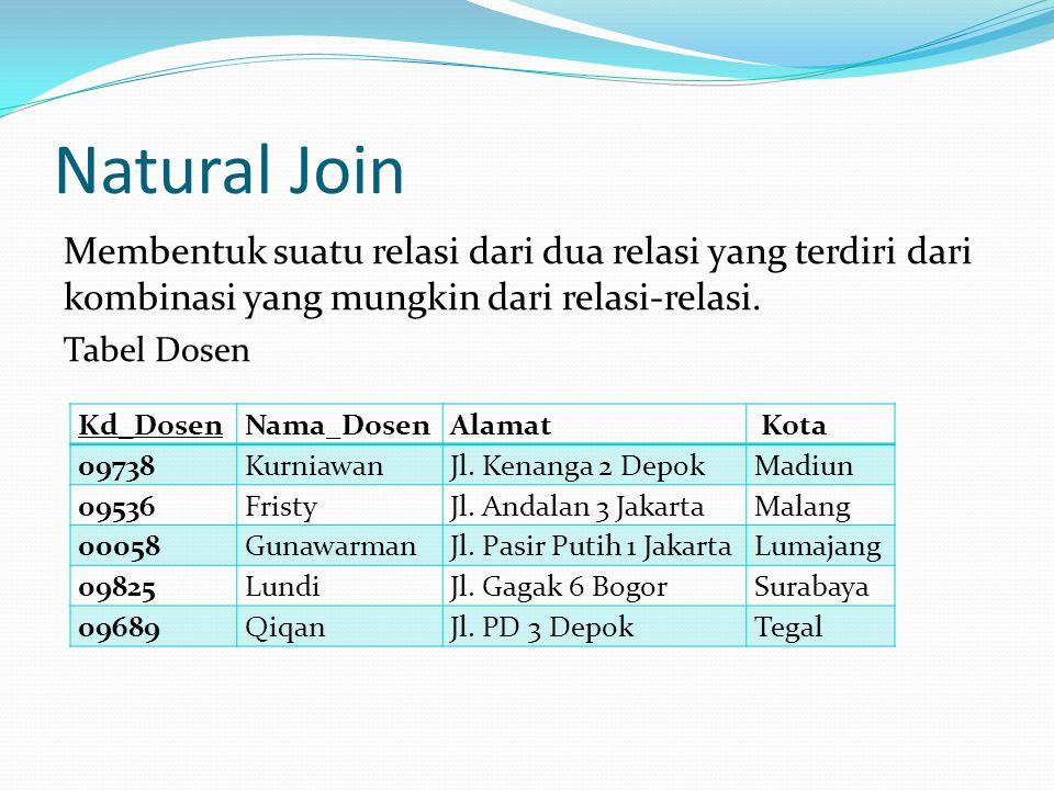 Natural Join Membentuk suatu relasi dari dua relasi yang terdiri dari kombinasi yang mungkin dari relasi-relasi.