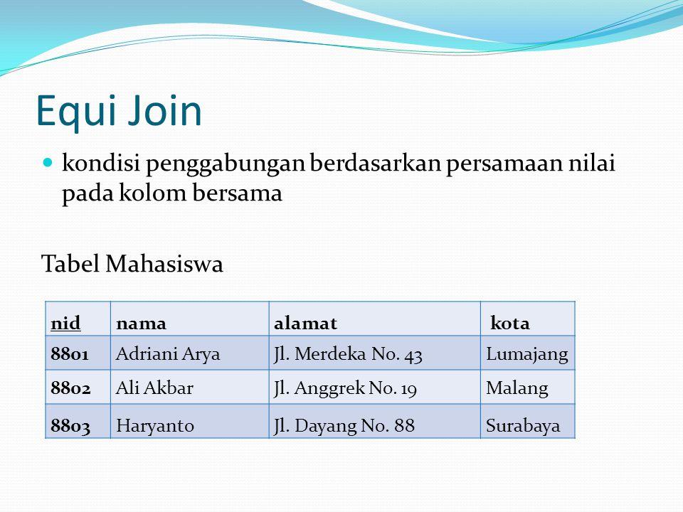 Equi Join kondisi penggabungan berdasarkan persamaan nilai pada kolom bersama. Tabel Mahasiswa. nid.