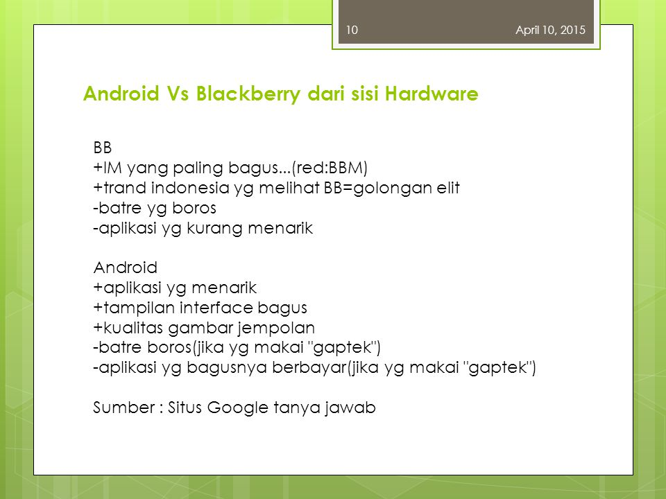 Android Vs Blackberry dari sisi Hardware