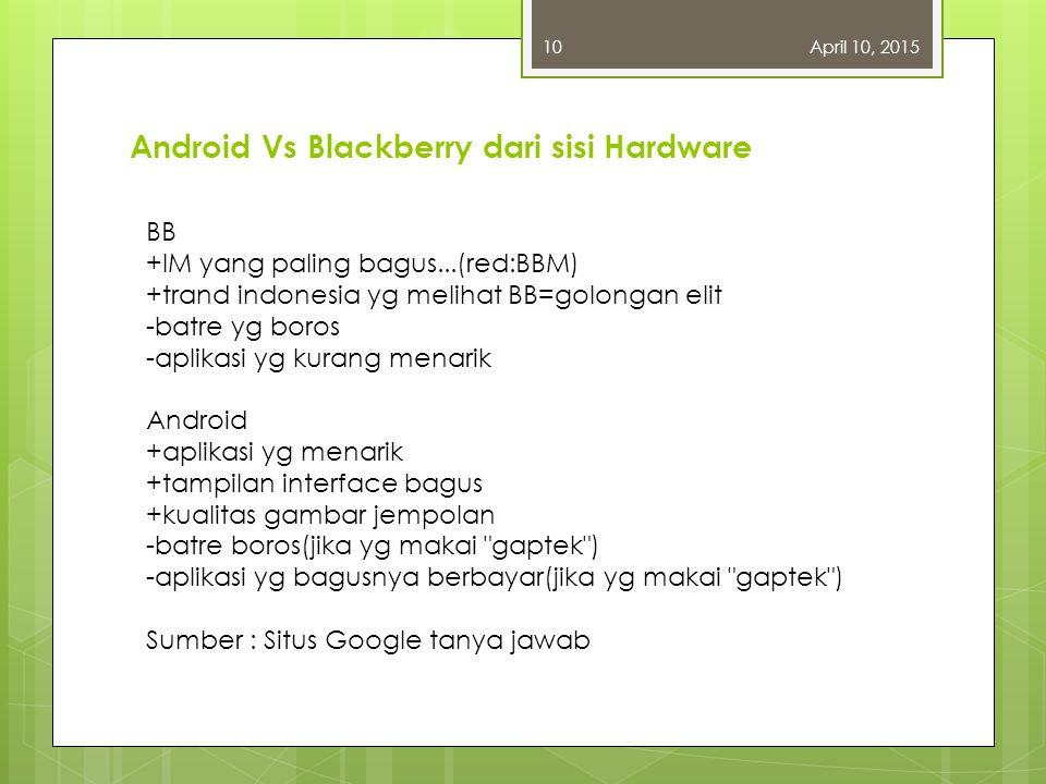 Android Vs Blackberry dari sisi Hardware