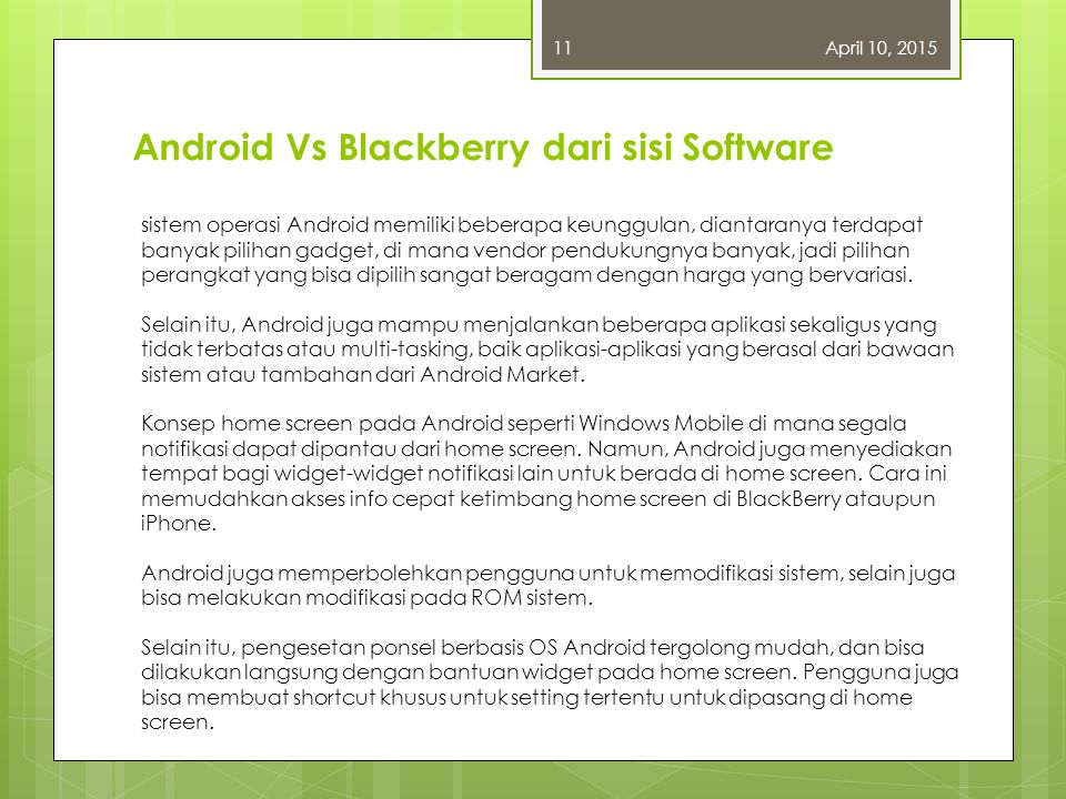 Android Vs Blackberry dari sisi Software