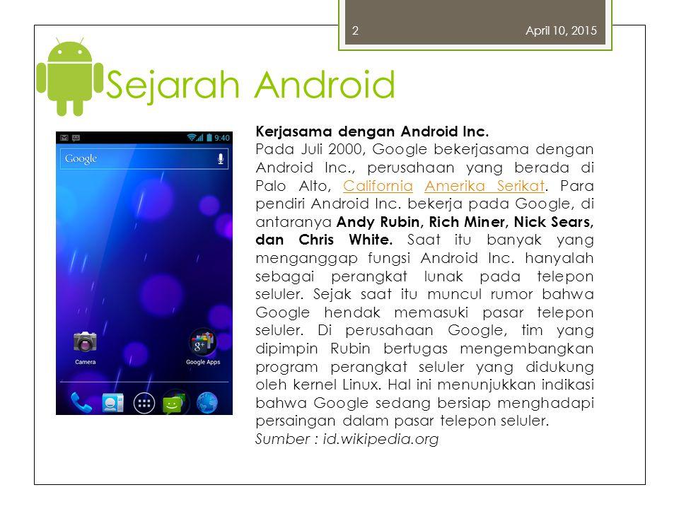 Sejarah Android Kerjasama dengan Android Inc.