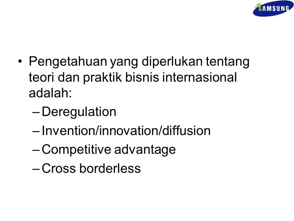 Pengetahuan yang diperlukan tentang teori dan praktik bisnis internasional adalah: