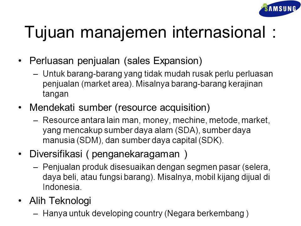 Tujuan manajemen internasional :