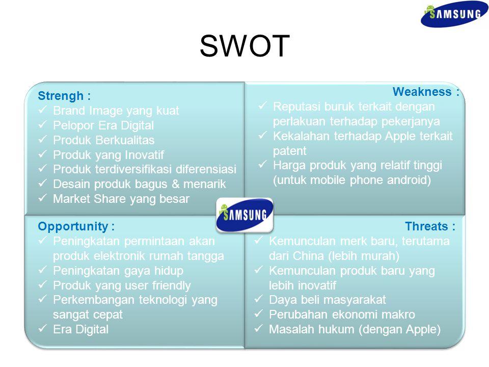 SWOT Weakness : Reputasi buruk terkait dengan perlakuan terhadap pekerjanya. Kekalahan terhadap Apple terkait patent.