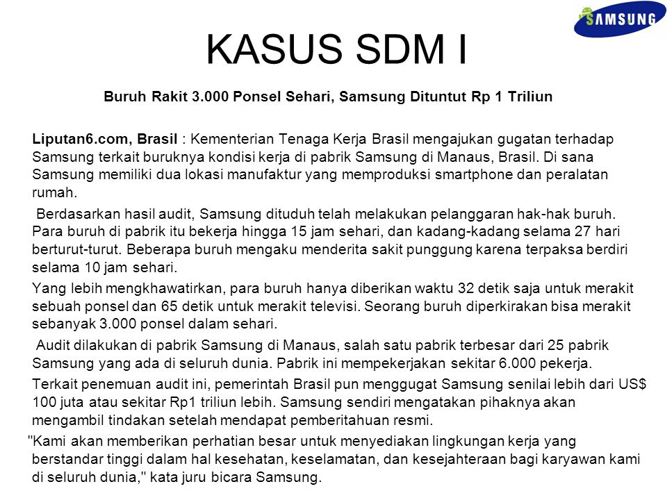 Buruh Rakit 3.000 Ponsel Sehari, Samsung Dituntut Rp 1 Triliun