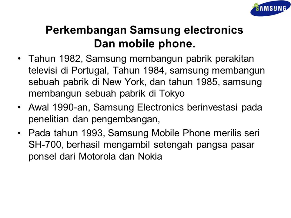 Perkembangan Samsung electronics Dan mobile phone.