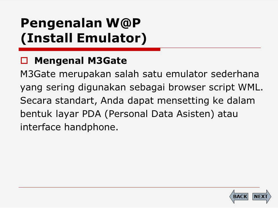Pengenalan W@P (Install Emulator)