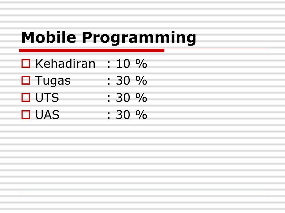 Mobile Programming Kehadiran : 10 % Tugas : 30 % UTS : 30 % UAS : 30 %