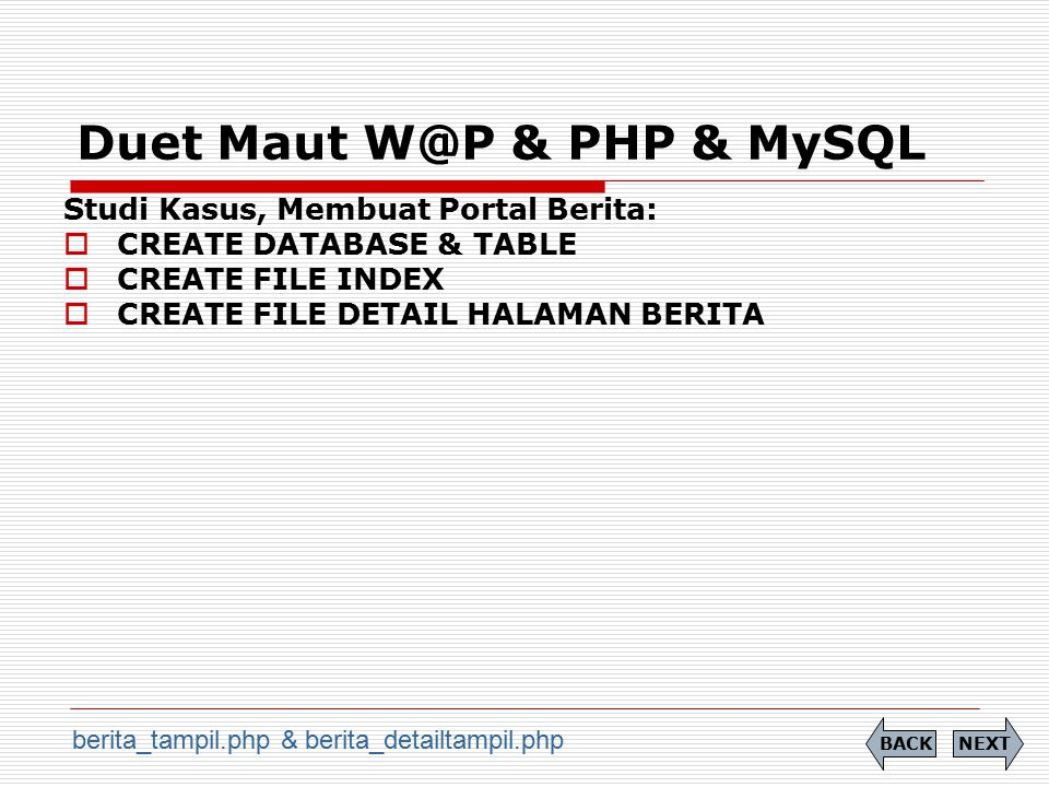 Duet Maut W@P & PHP & MySQL