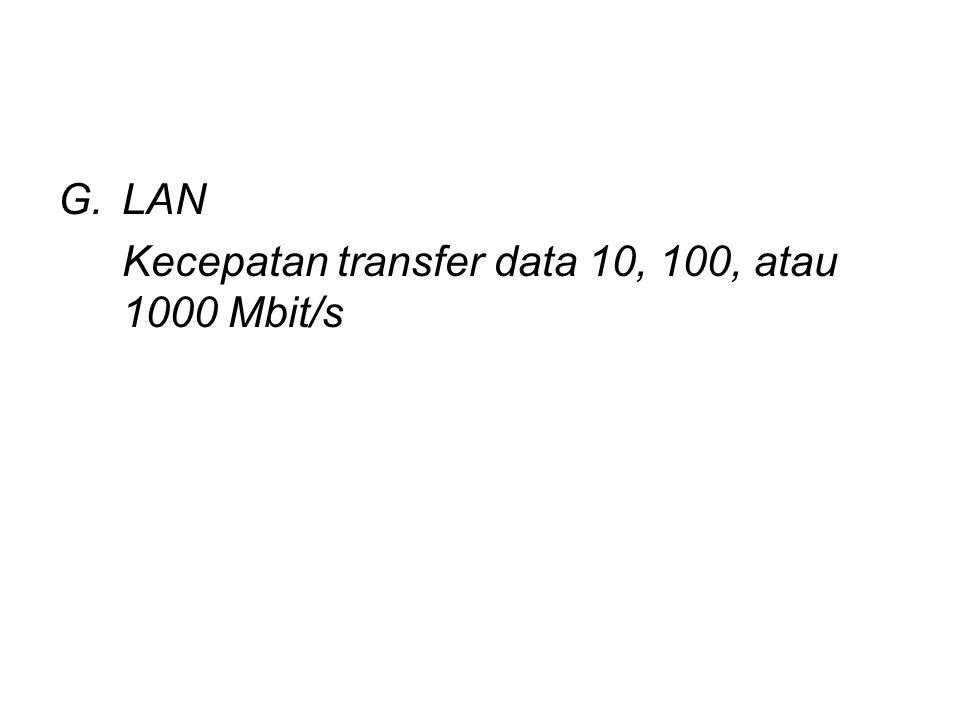 LAN Kecepatan transfer data 10, 100, atau 1000 Mbit/s