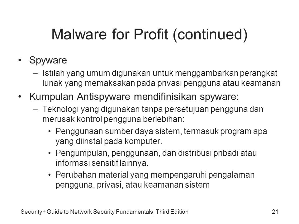 Malware for Profit (continued)
