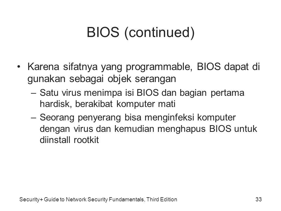 BIOS (continued) Karena sifatnya yang programmable, BIOS dapat di gunakan sebagai objek serangan.
