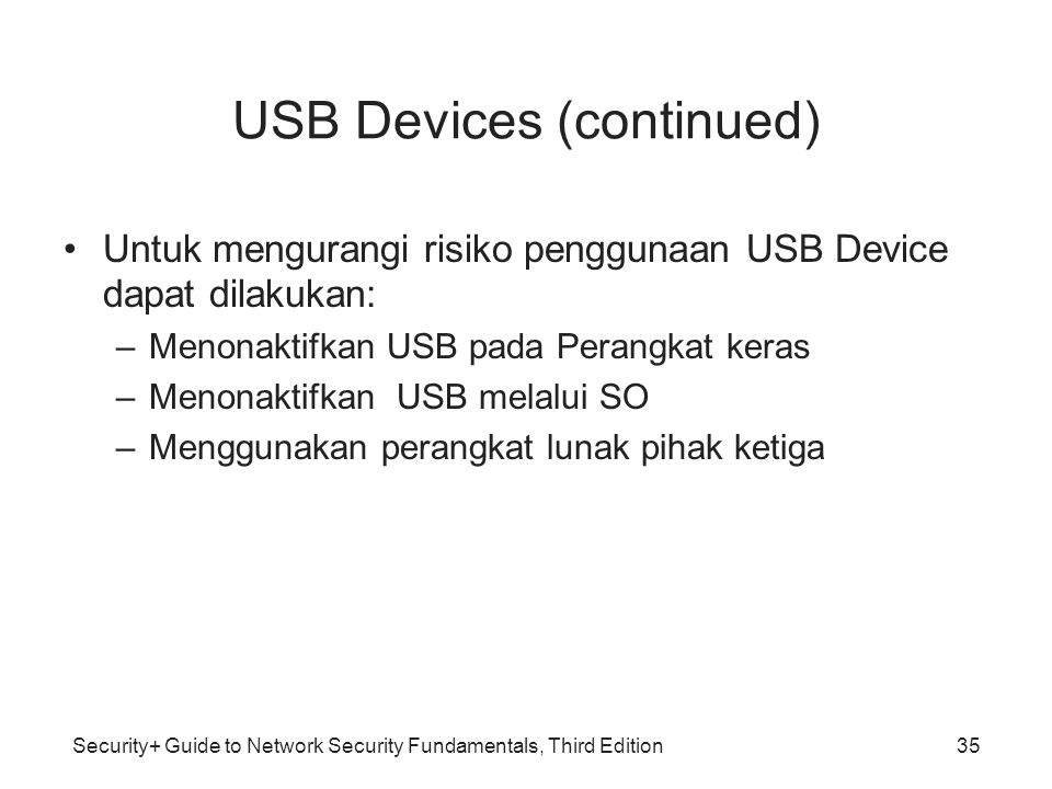 USB Devices (continued)