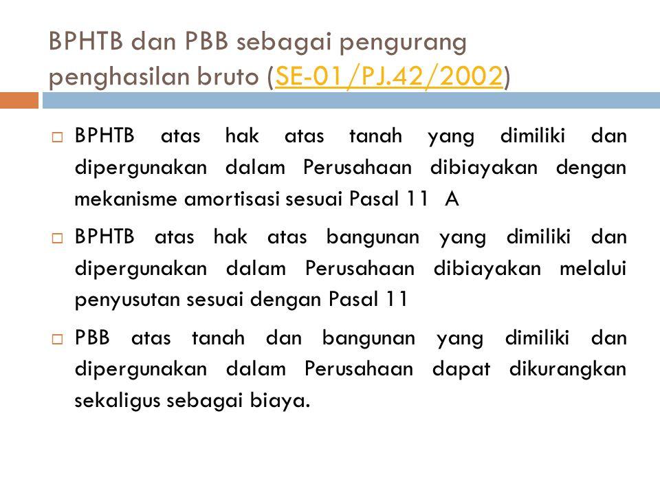 BPHTB dan PBB sebagai pengurang penghasilan bruto (SE-01/PJ.42/2002)