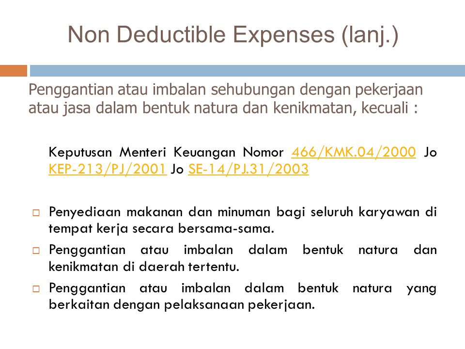 Non Deductible Expenses (lanj.)