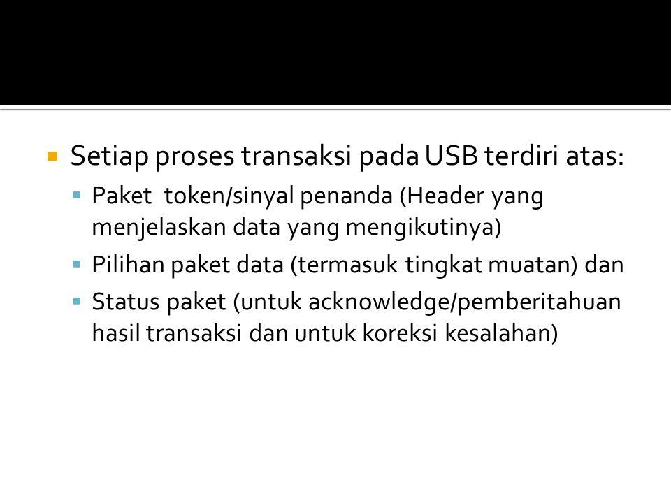 Setiap proses transaksi pada USB terdiri atas: