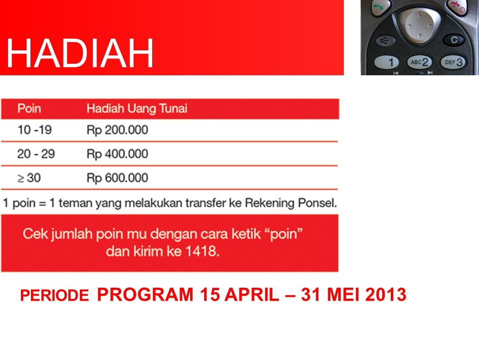 Periode program 15 april – 31 mei 2013