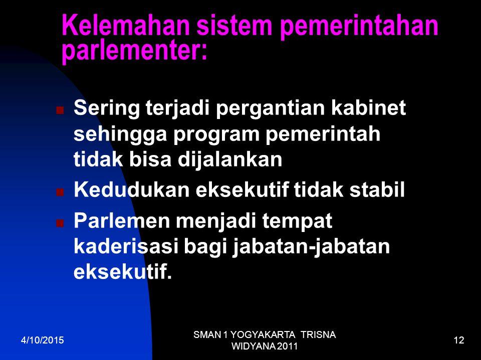 Kelemahan sistem pemerintahan parlementer: