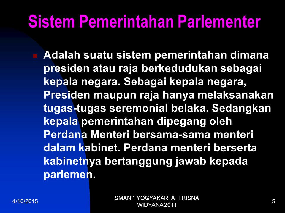 Sistem Pemerintahan Parlementer