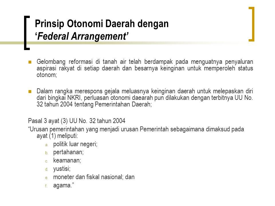 Prinsip Otonomi Daerah dengan 'Federal Arrangement'