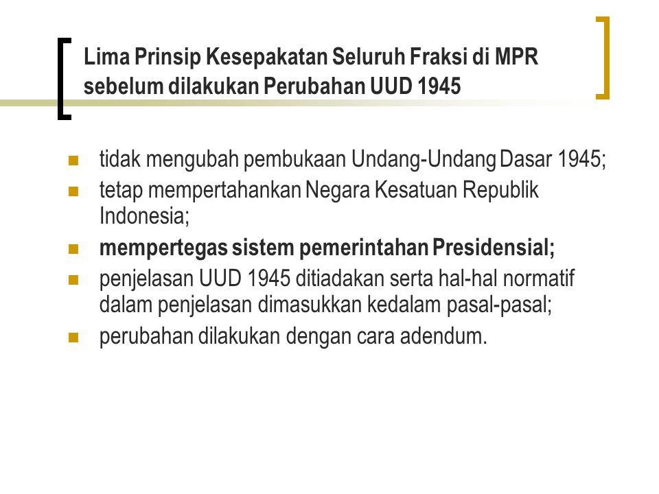 Lima Prinsip Kesepakatan Seluruh Fraksi di MPR sebelum dilakukan Perubahan UUD 1945