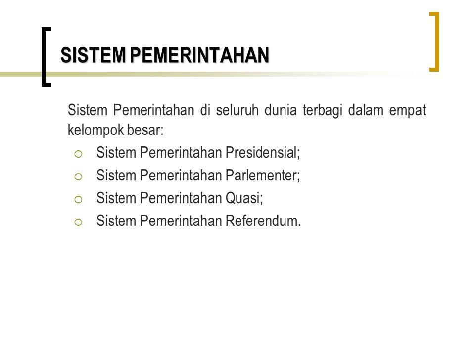 SISTEM PEMERINTAHAN Sistem Pemerintahan di seluruh dunia terbagi dalam empat kelompok besar: Sistem Pemerintahan Presidensial;