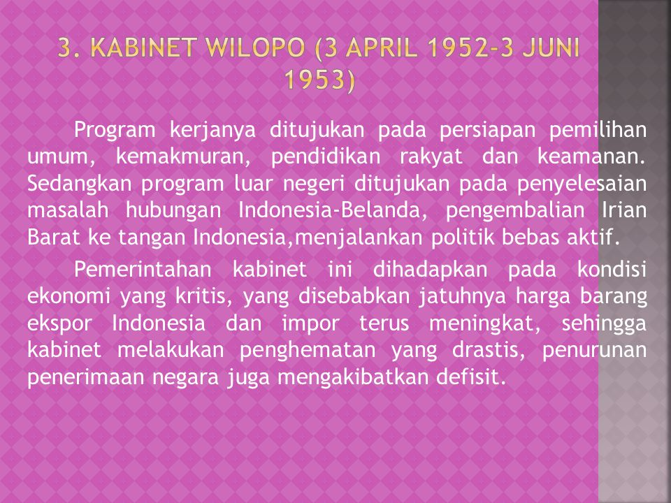 3. Kabinet Wilopo (3 April Juni 1953)